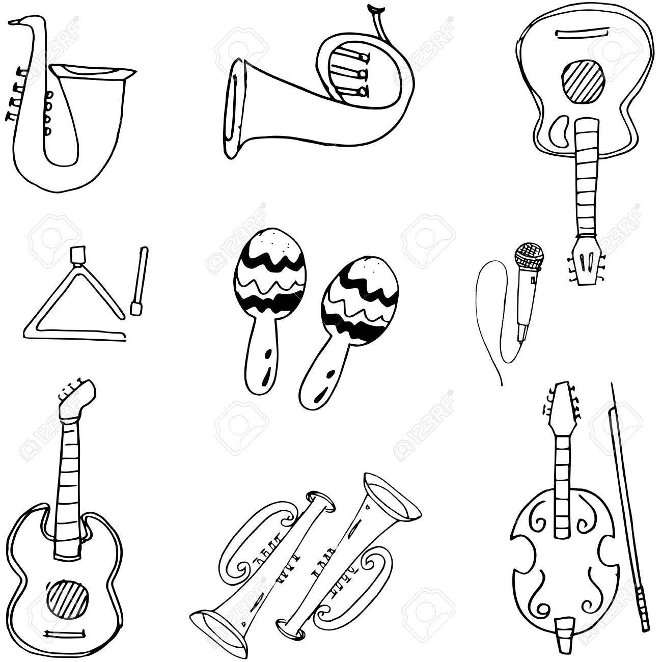 Music tools in doodle hand draw vector art stock vector 60717359