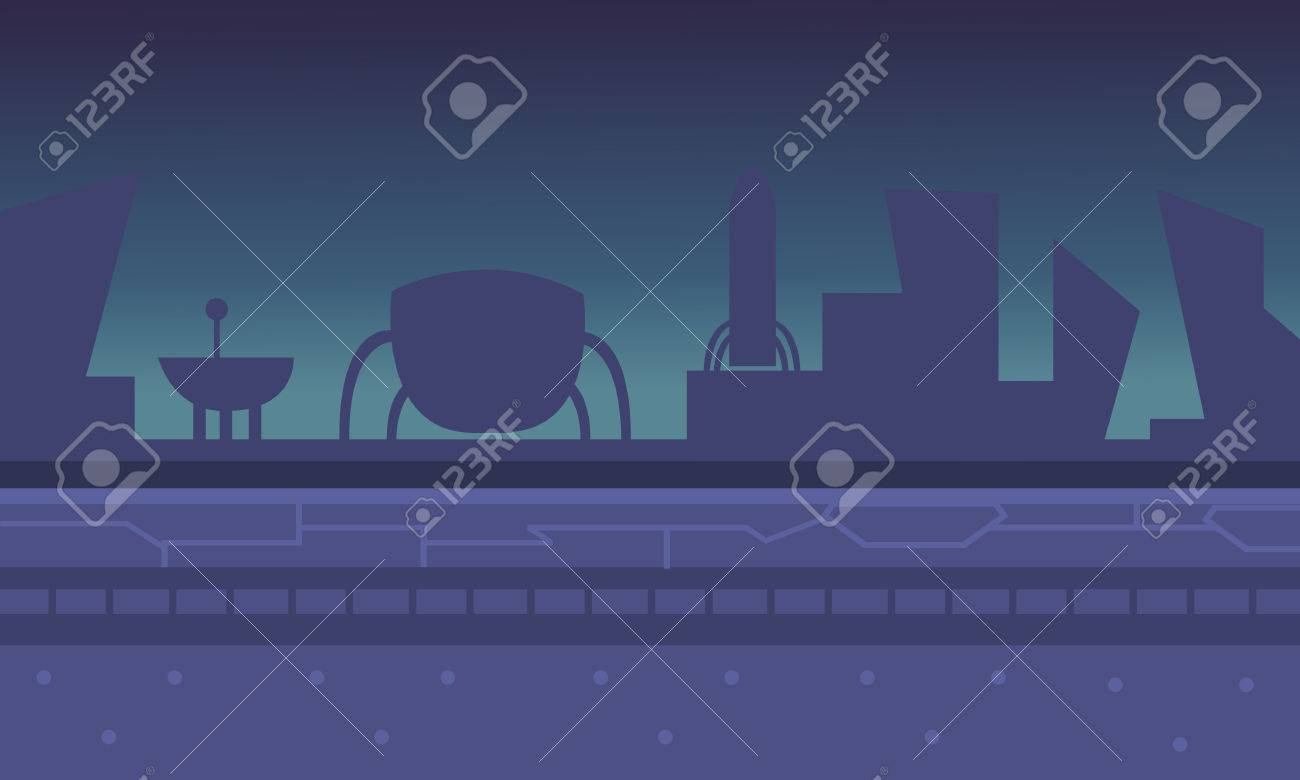 alien spacecraft with blue backgrounds game vector illustration