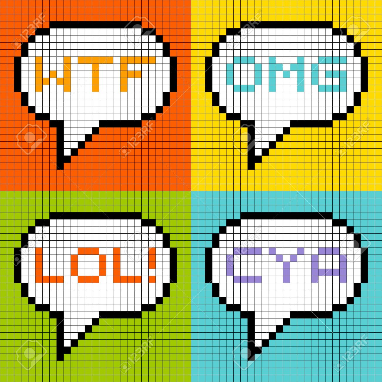 8-bit pixel representation of common 3-letter acronyms in speech bubbles Stock Vector - 19026158