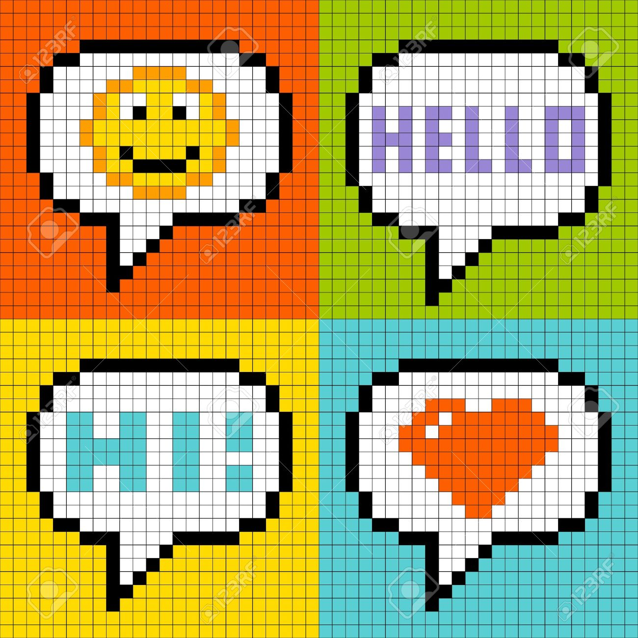8 Bit Pixel Online Messaging Bubbles Smiley Hello Hi Love Heart