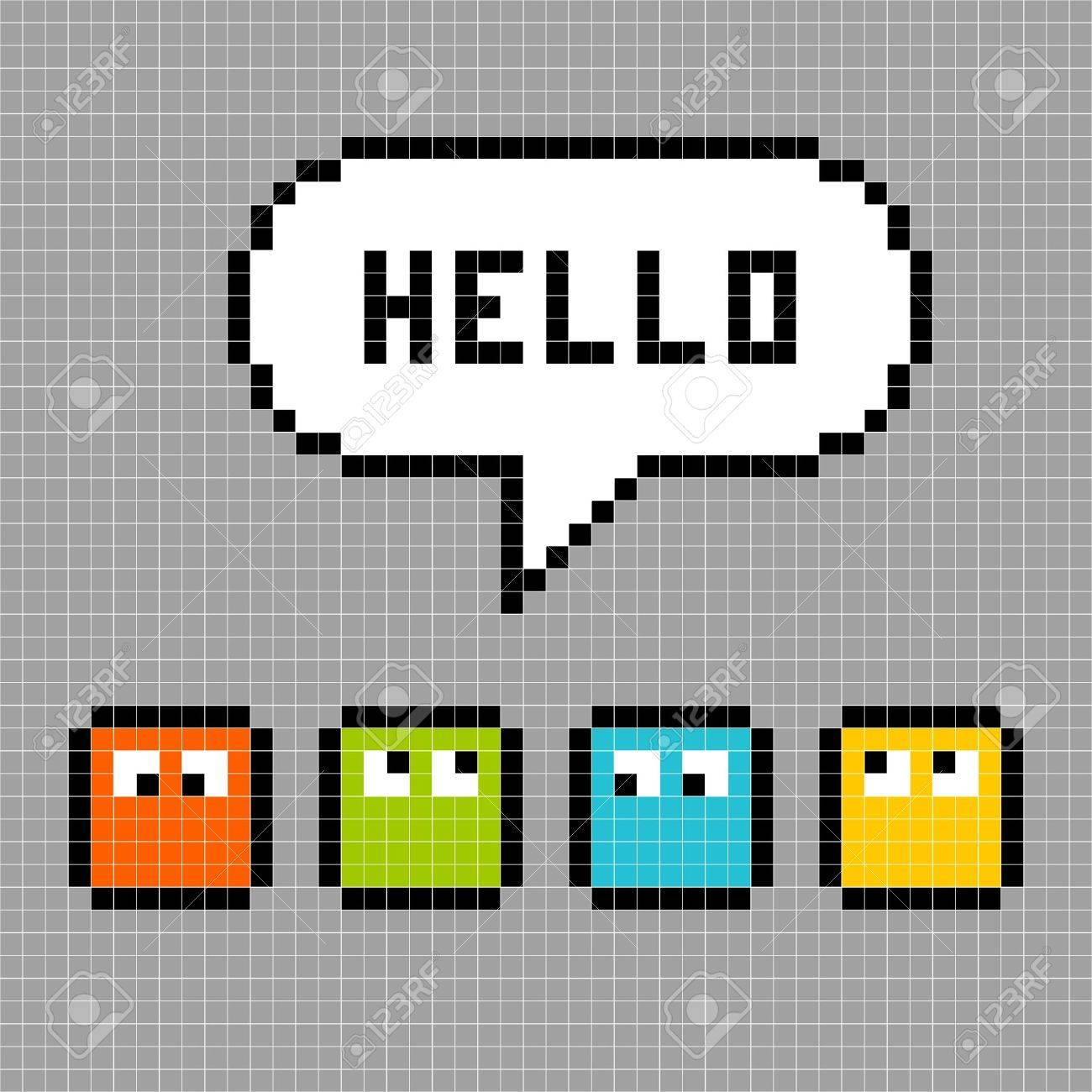 8-bit pixel characters say hello against a grey grid background Stock Vector - 19090065