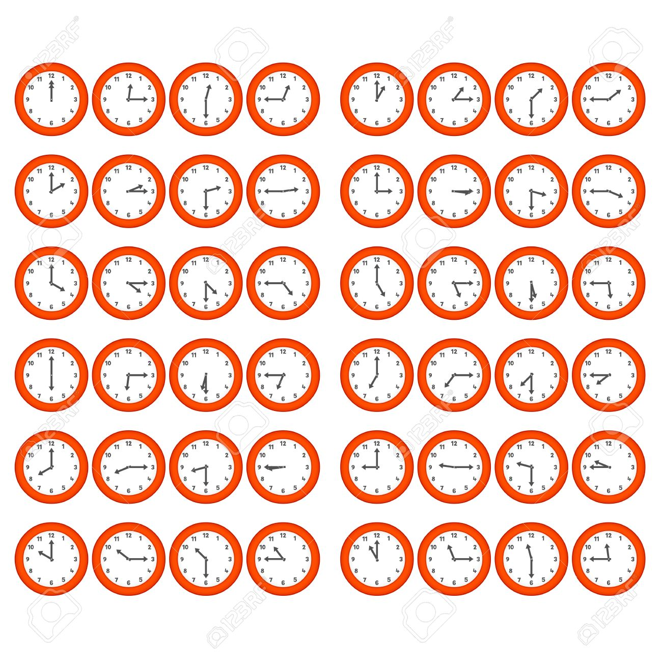 Vector red numerical clocks showing every 15 minutes Stock Vector - 19986523