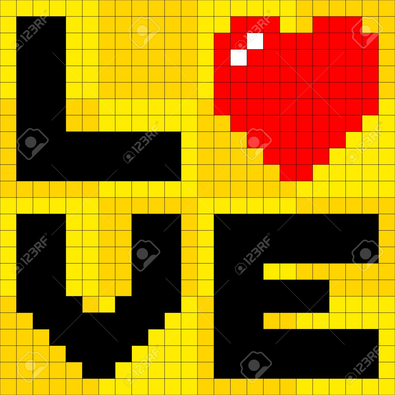 8-bit pixel-art love poster Stock Vector - 20238537