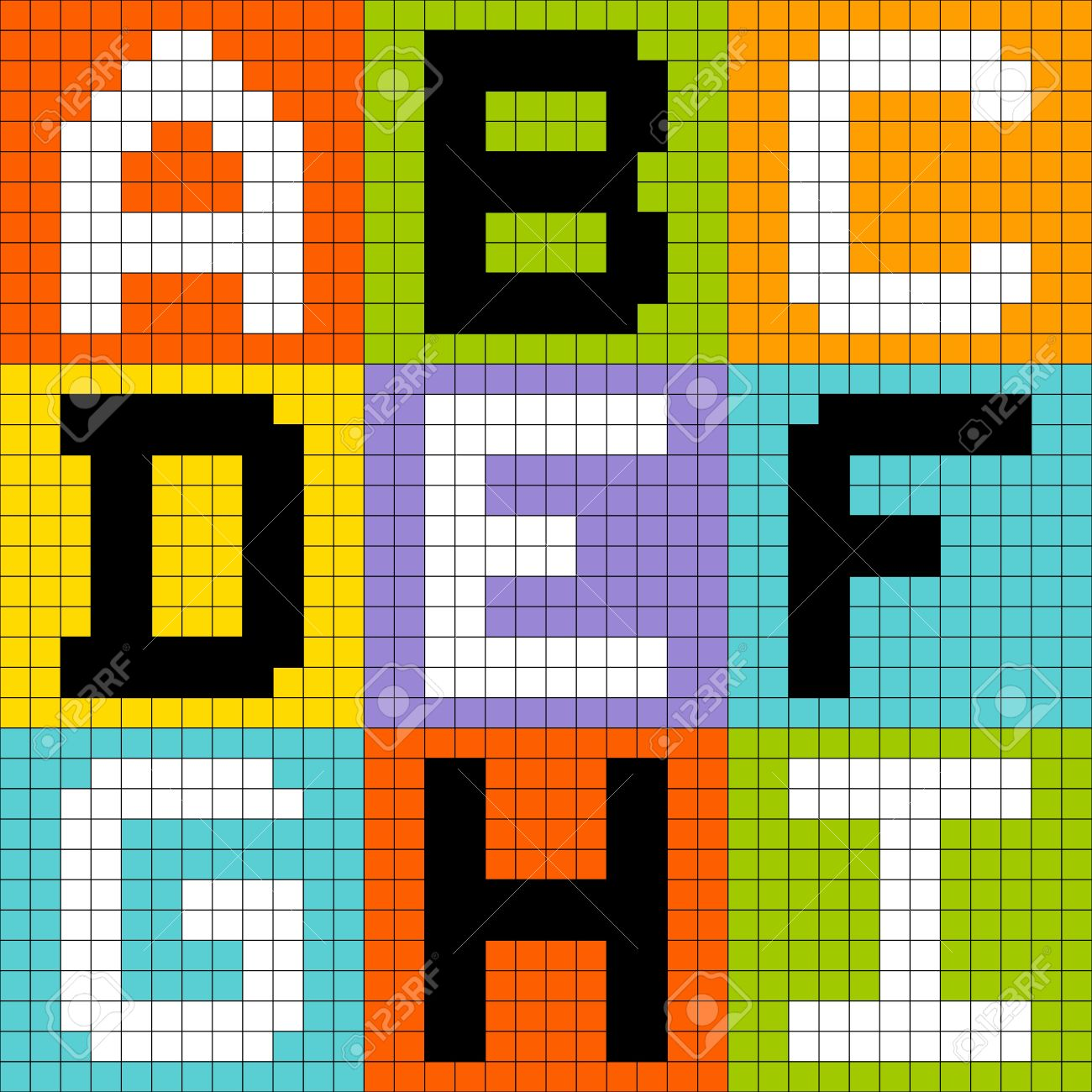 8-bit pixel-art letters ABC DEF GHI Stock Vector - 20238533