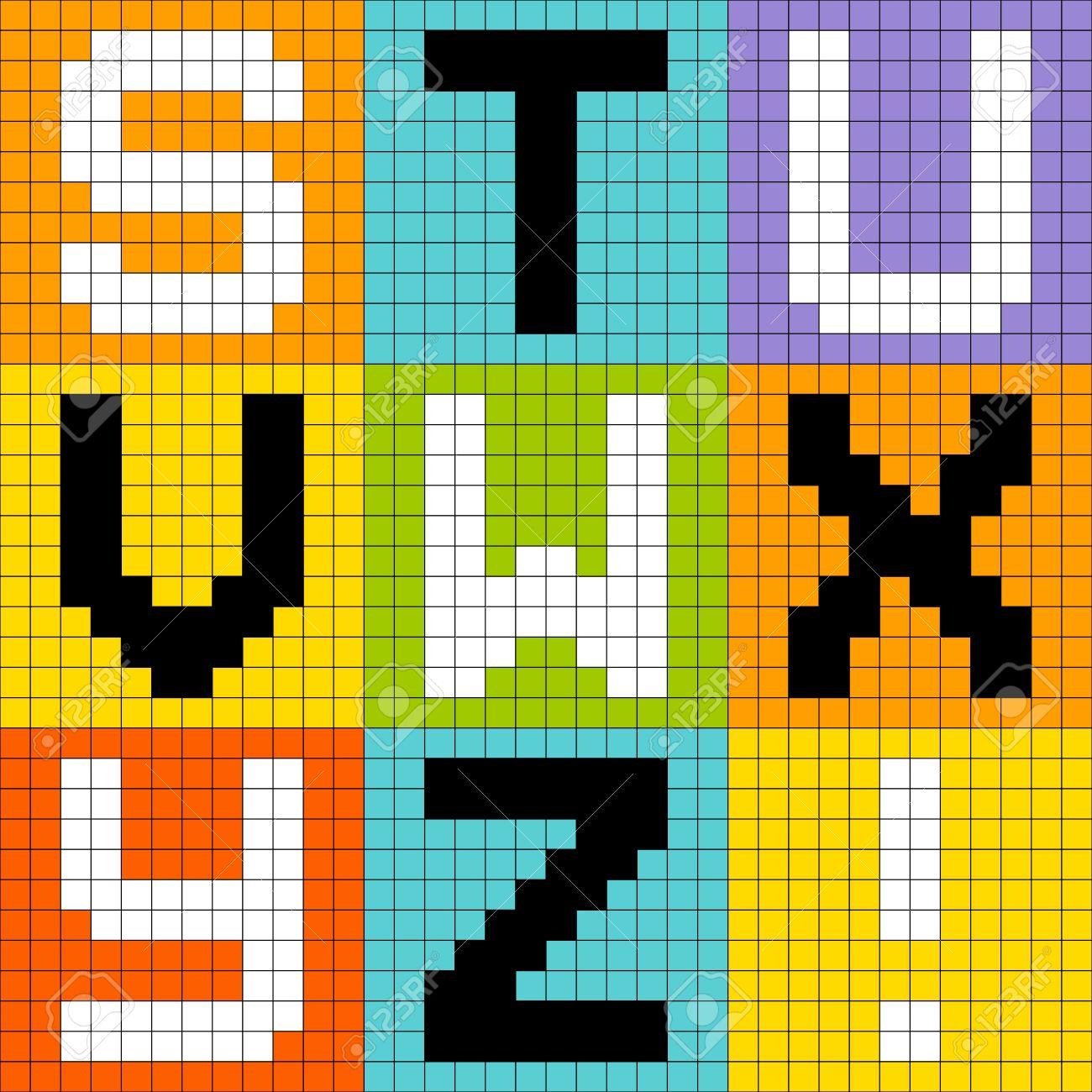 8-bit pixel-art letters STU VWX YZ Stock Vector - 20238535