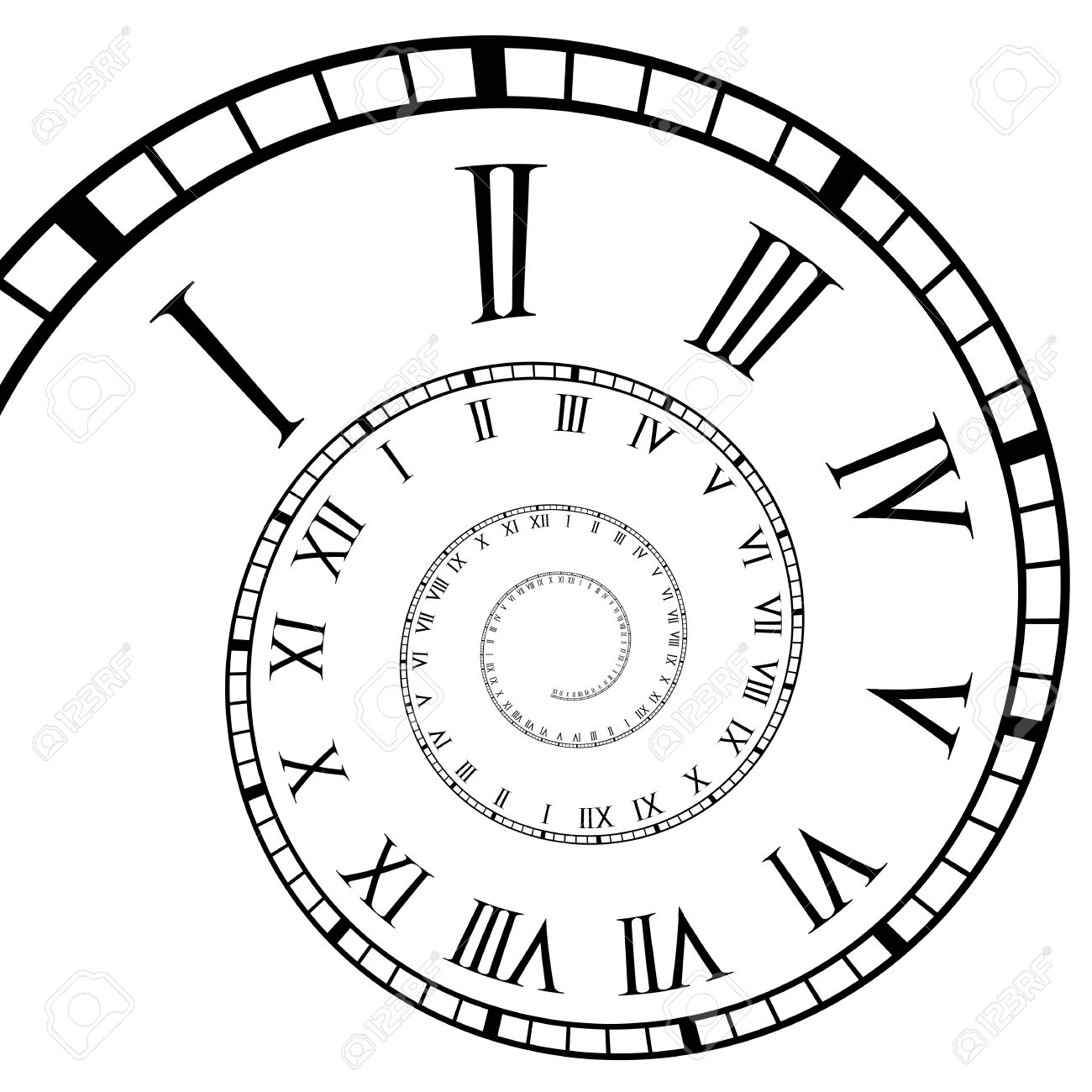 Roman numeral clock spiral time line Stock Vector - 20238560