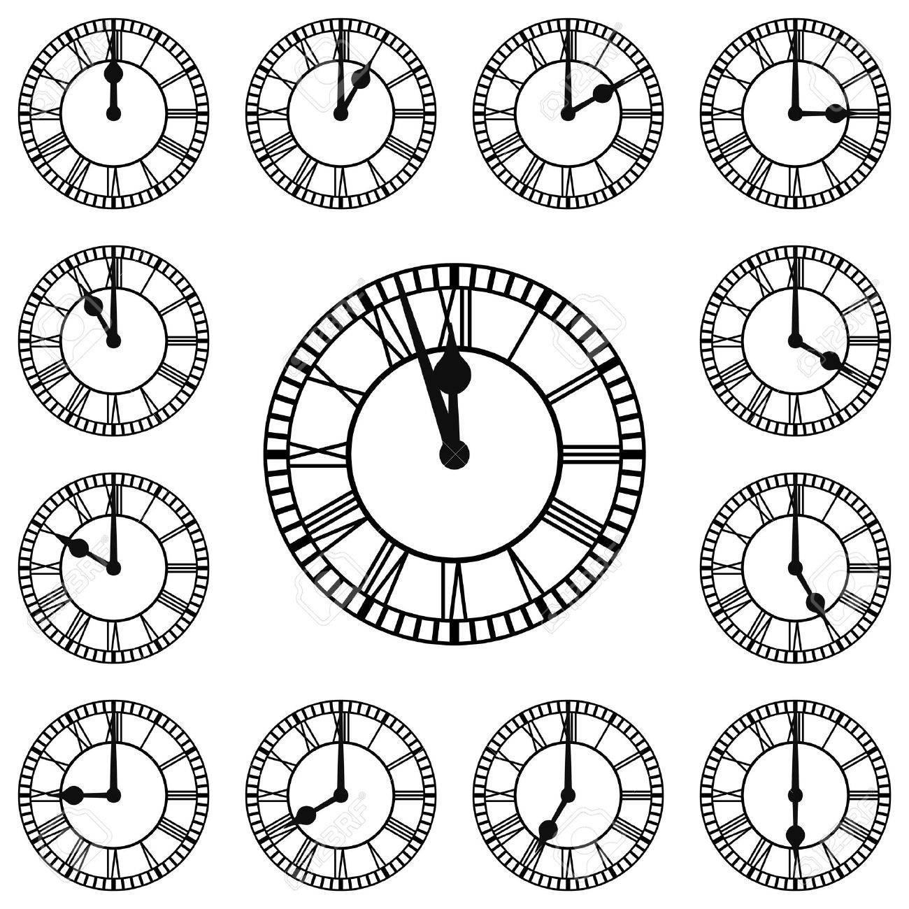 roman numeral clocks showing every hour each hour is on a separate