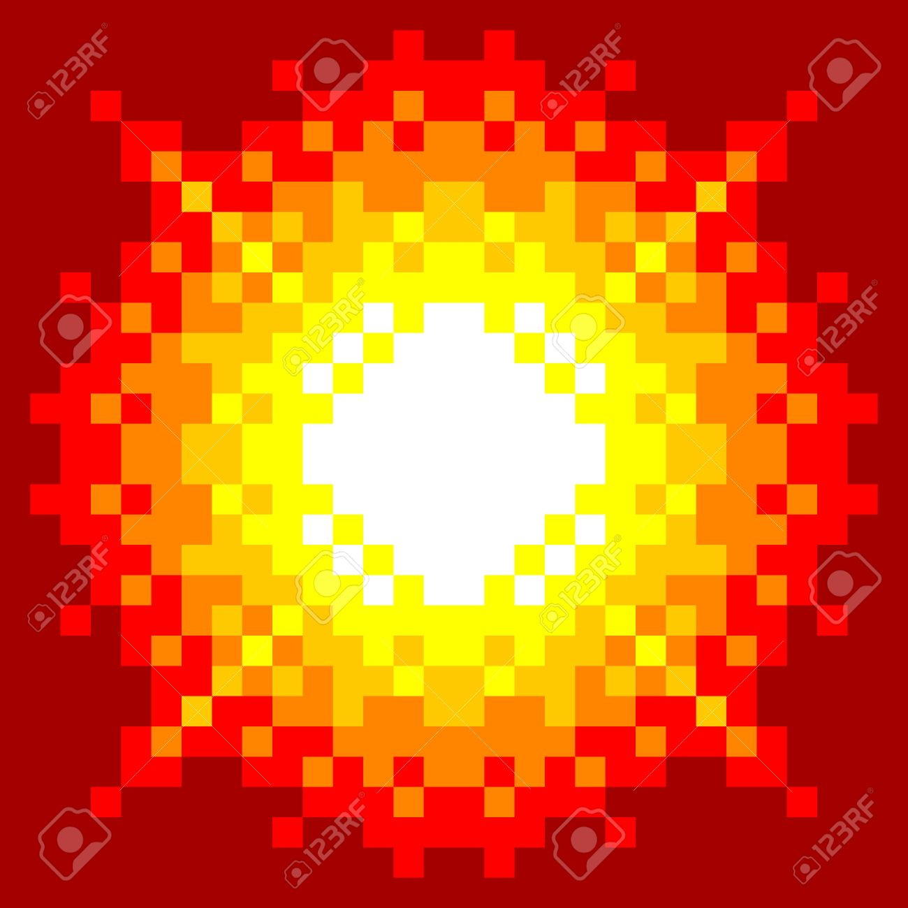 8-Bit Pixel-art Explosion on a Red Background Stock Vector - 21410611