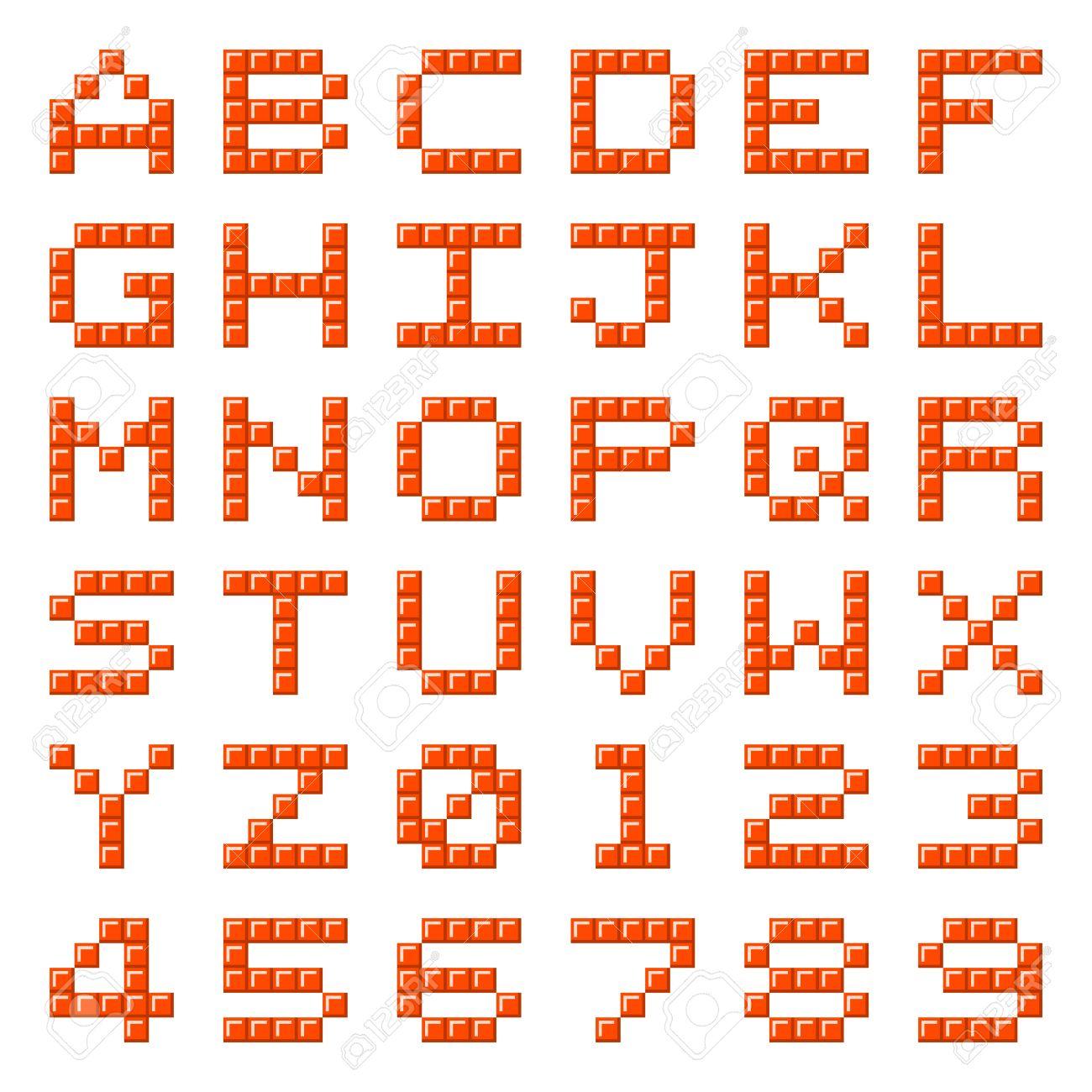 Las Letras Del Alfabeto Y Los Números Hechos De Bloques De Píxeles ...