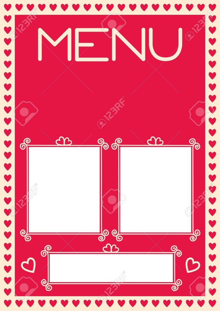 Valentine\'s Menu Template. Setup For A4. Assets Are Separated ...