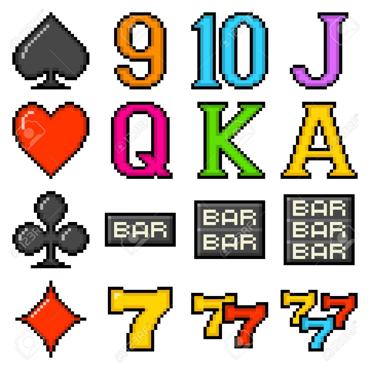 Popular slot machine symbols depicted in 8-bit pixel art form Stock Vector - 22122994