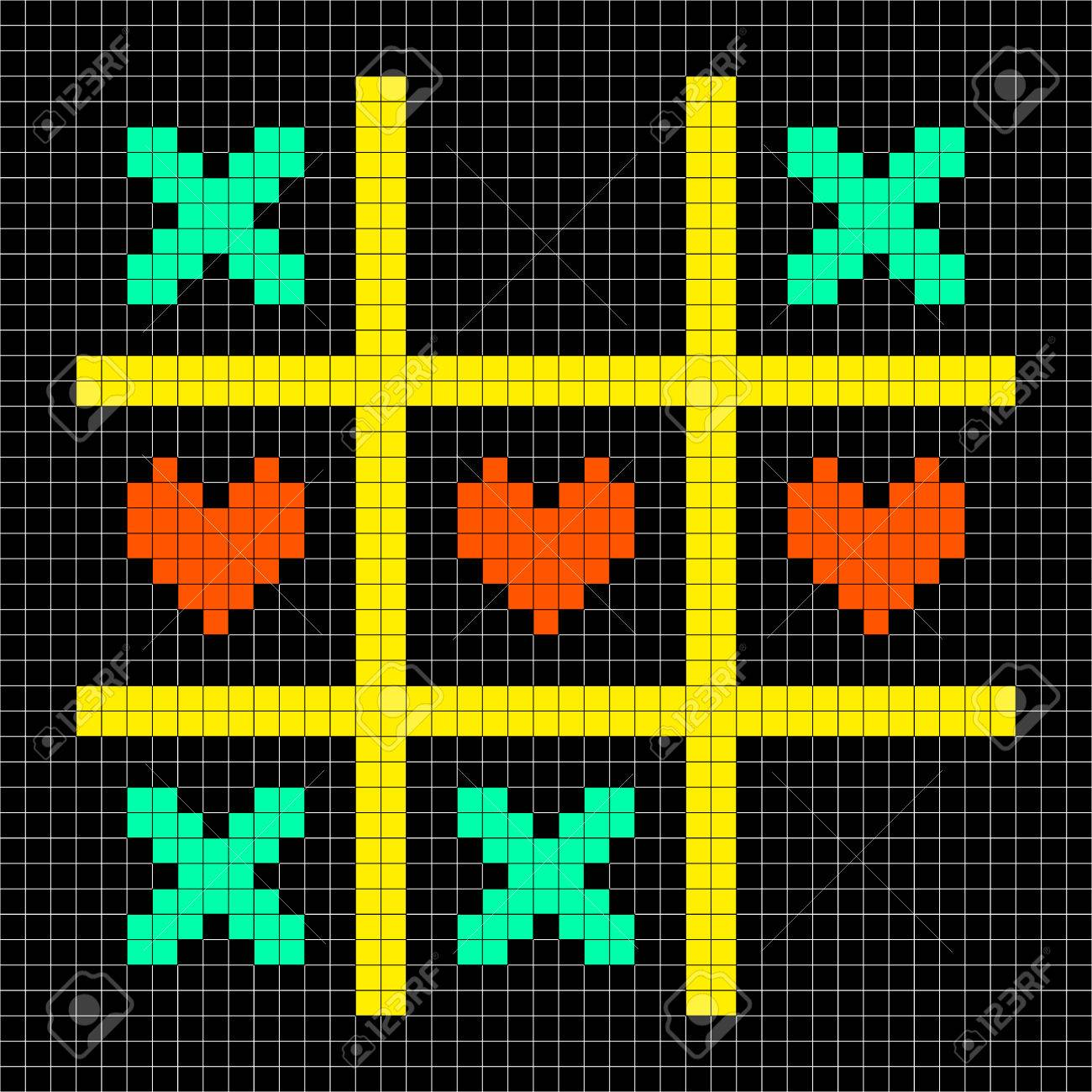 8-bit Pixel Art Tic Tac Toe Game With Kisses and Love Heart Symbols Stock Vector - 23292134