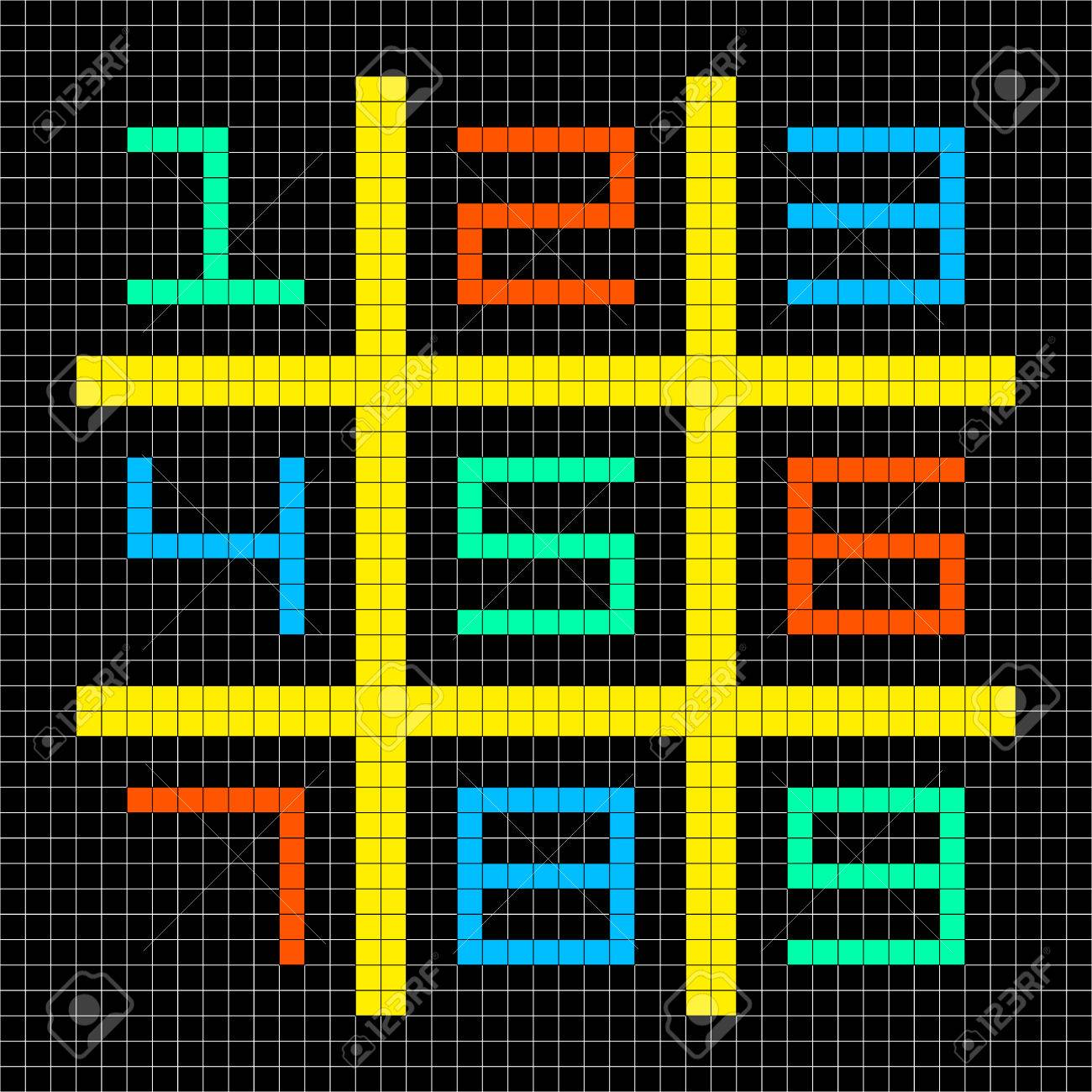 8 Bit Pixel Art With Numbers 1 9 In A Sudoku Grid Assets Separated Royalty Free Cliparts Vectors And Stock Illustration Image 23292139