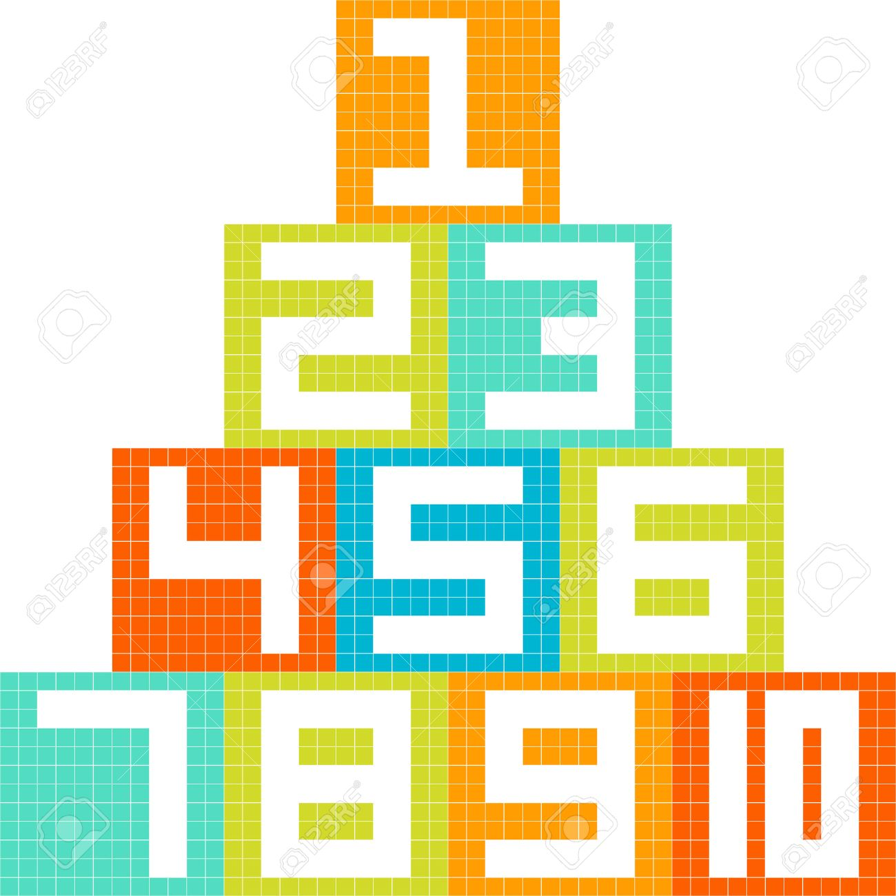 8 Bit Pixel Art Number 1 10 Blocks Arranged In A Pyramid Created Royalty Free Cliparts Vectors And Stock Illustration Image 23659985