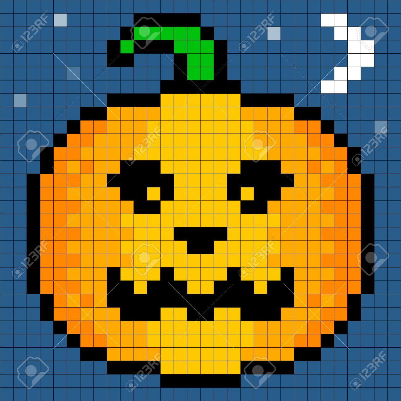 8-bit Pixel Art Halloween Pumpkin. Eyes, Pumpking And Background ...