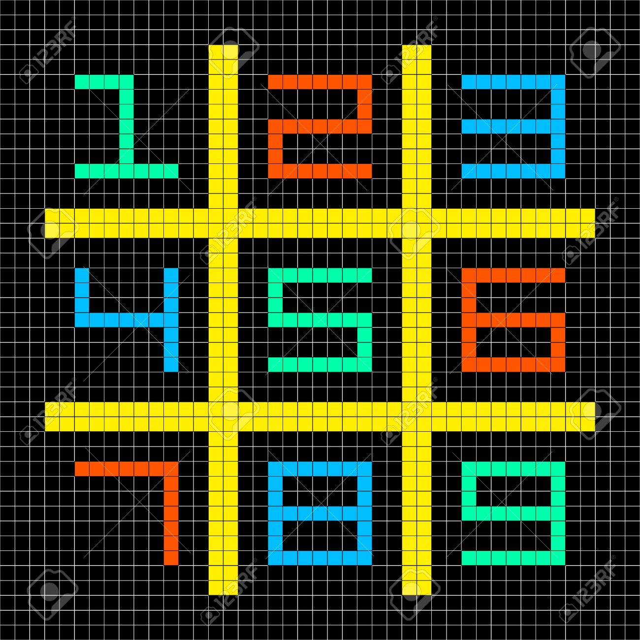 8-bit Pixel Art with Numbers 1-9 in a Sudoku Grid. Assets separated onto separate layers Stock Vector - 23659995