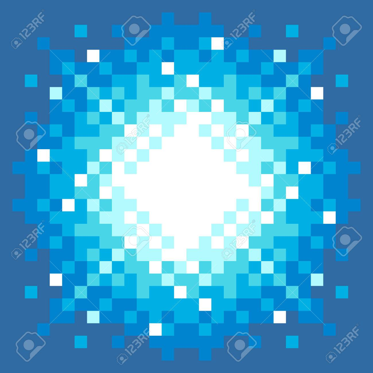 8-Bit Pixel-art Explosion on a Blue Background Stock Vector - 23659999