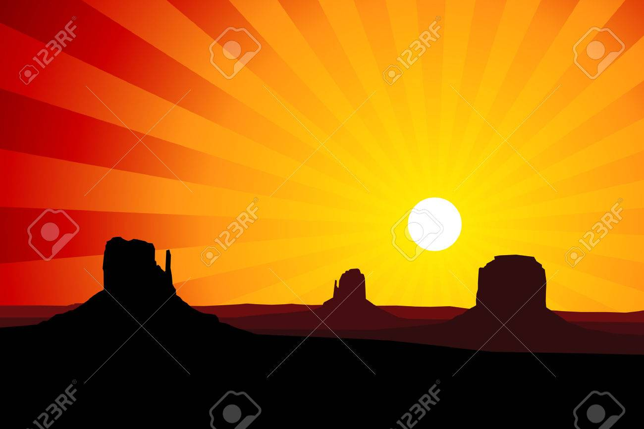 Silhouette Of The Rock Formations Of Monument Valley Arizona Royalty Free Cliparts Vectors And Stock Illustration Image 24226549