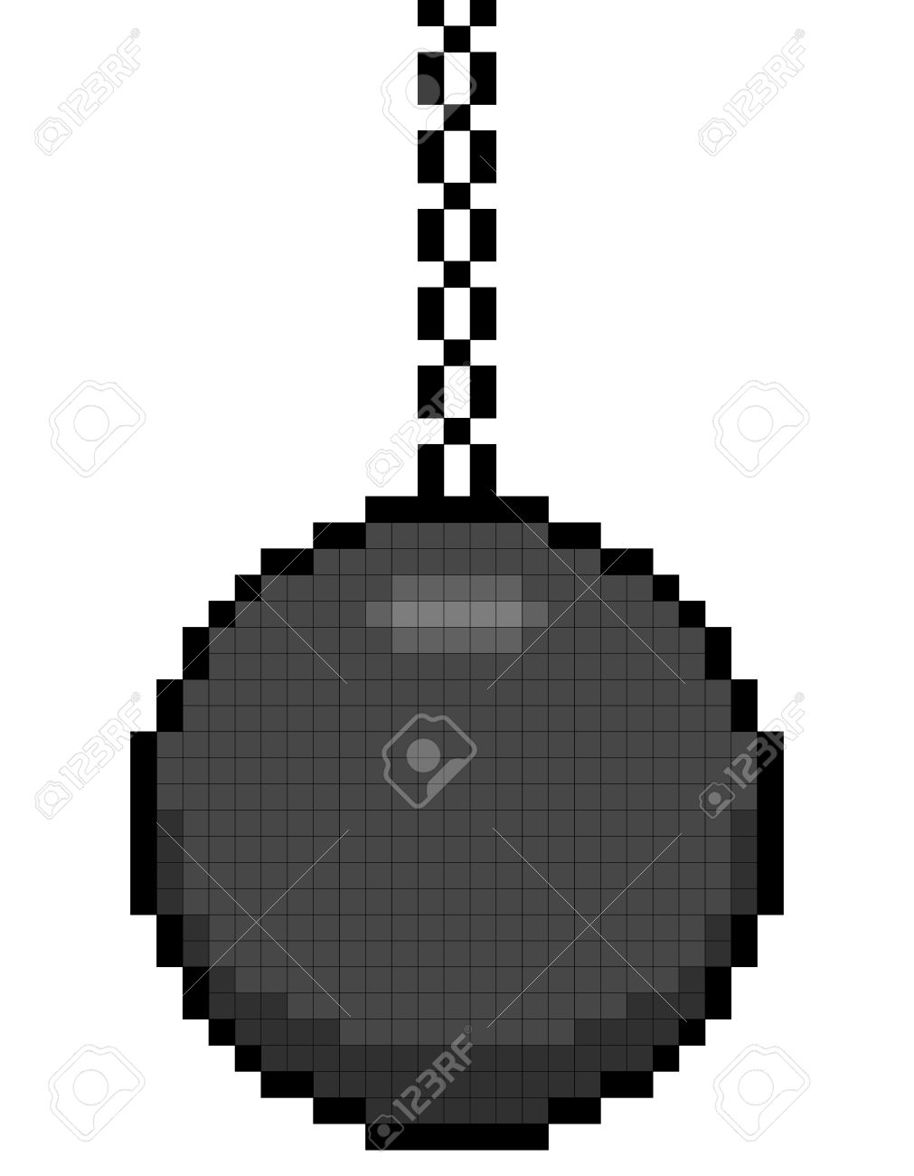 8-bit pixel art wrecking ball on a chain. Assets are on separate layers Stock Vector - 24542949