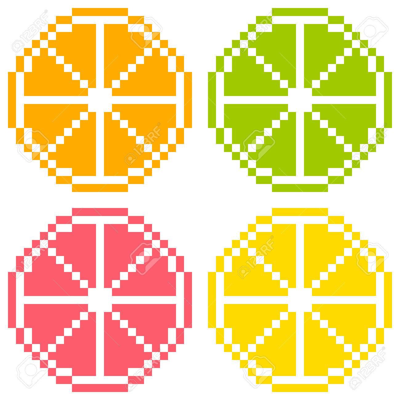 8-bit Pixel Art Citrus Fruit Slices - Orange, Lime, Grapefruit, Lemon  Seamless Background Tile Stock Vector - 24912400