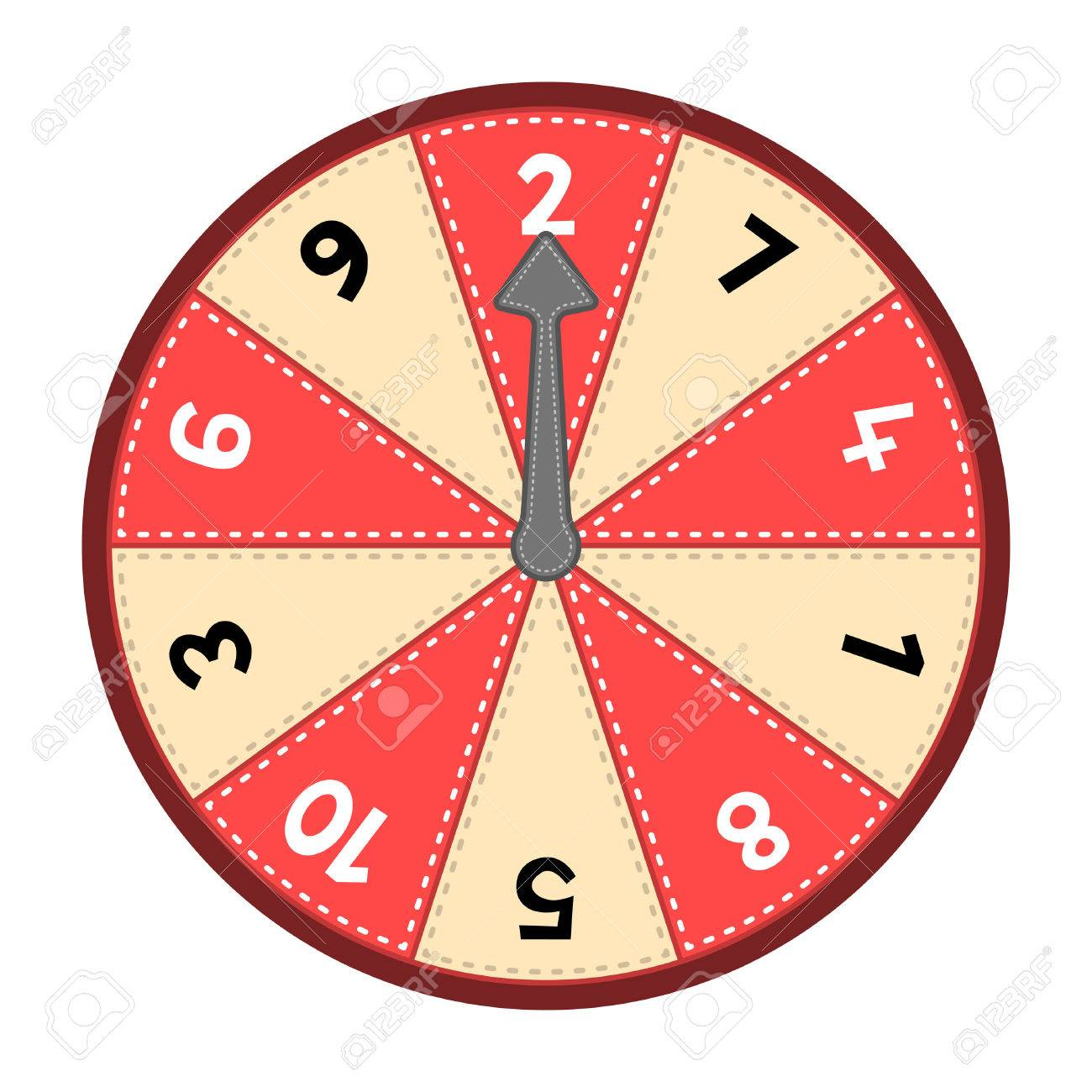 Vector number wheel showing numbers 1-10 in a random odd-even order. Assets are on separate layers with dashed strokes Stock Vector - 25475506