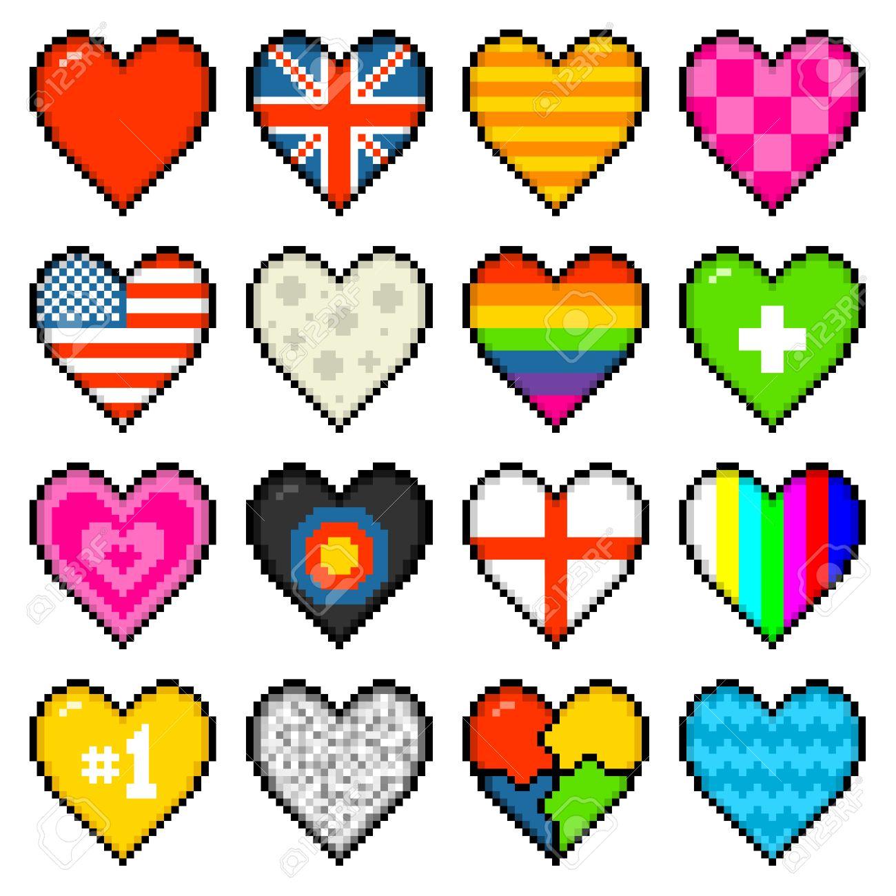 16 Coeurs De Différents Modèles Dans Un Style Pixel Art 8 Bit