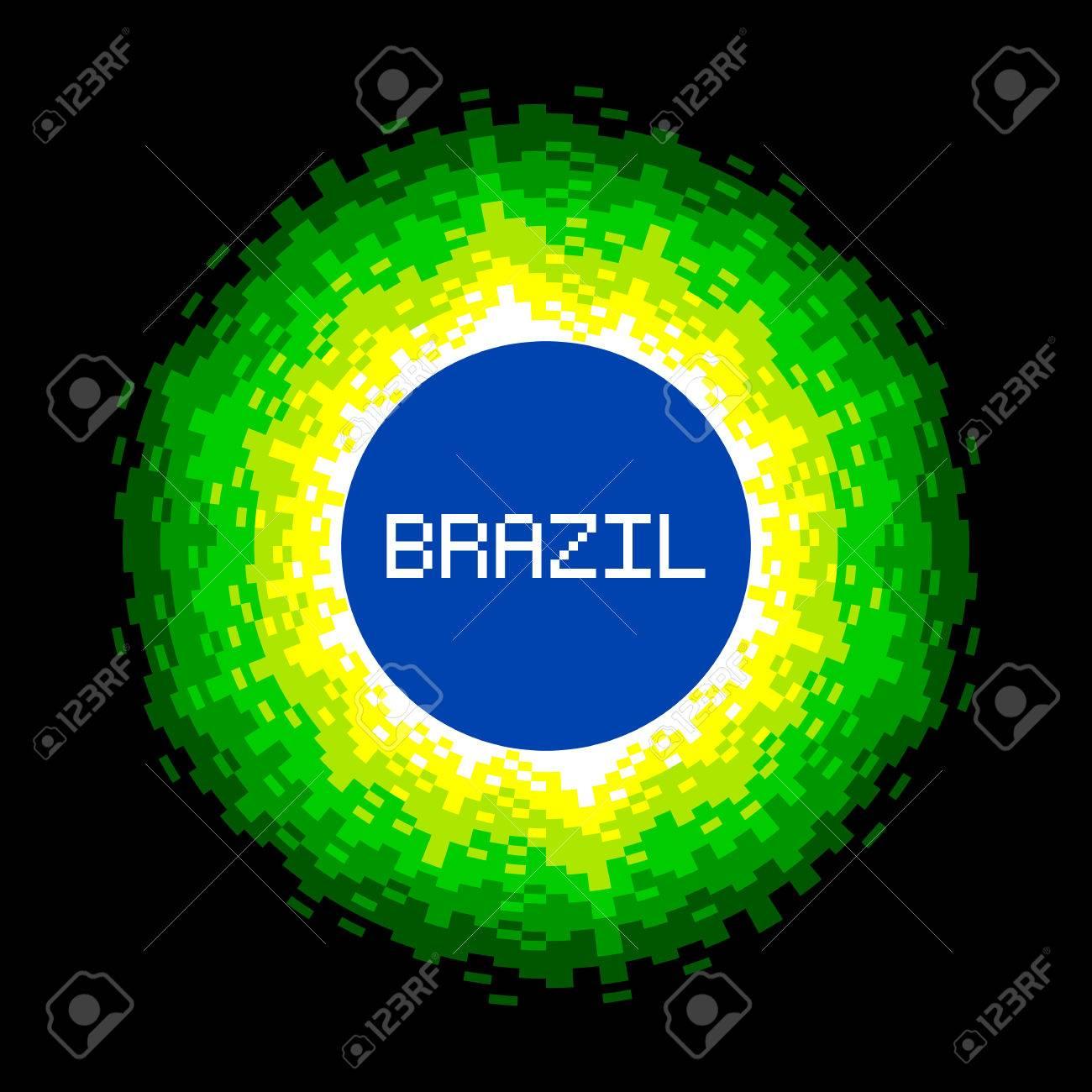8-Bit Pixel-art Brazil World Concept. Stock Vector - 27463836