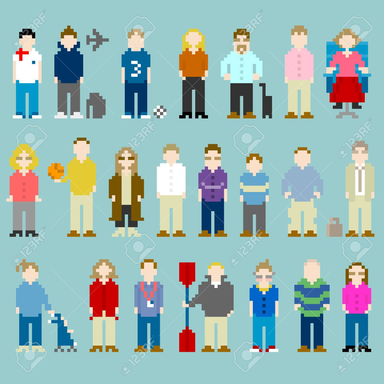 Pixel-art representations of people from the office, former work colleagues Stock Vector - 29478181