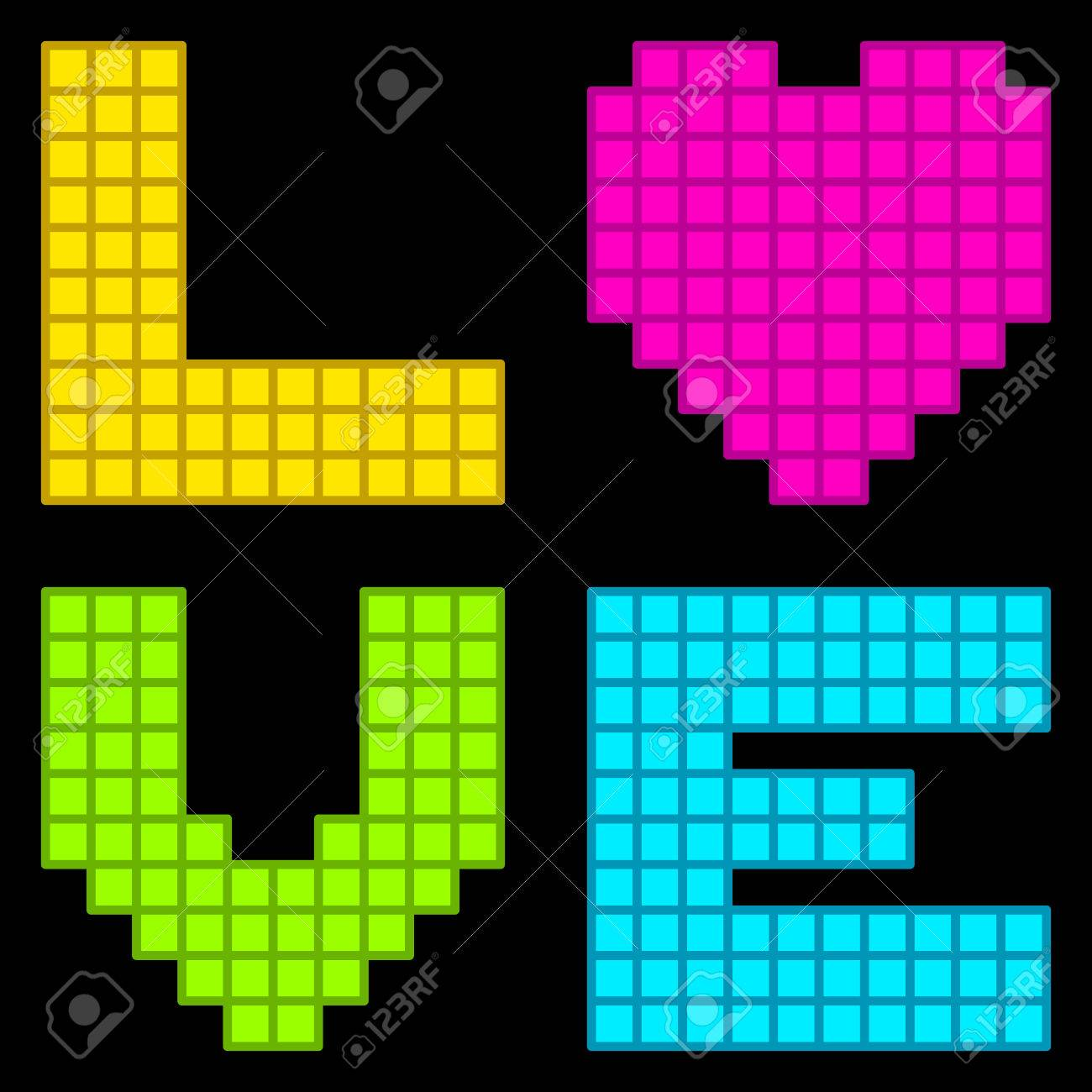 8-Bit Retro Pixel Love Heart. Each element is on a separate layer, and consist of individual vector squares for futher editing Stock Vector - 29480188