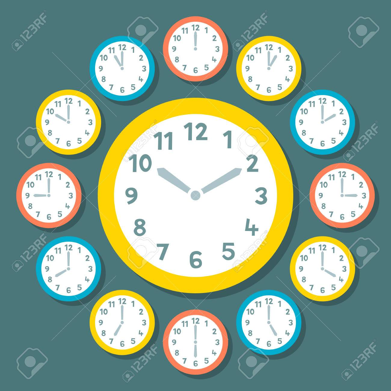 Retro Vector Clocks Showing All 12 Hours Stock Vector - 34338094