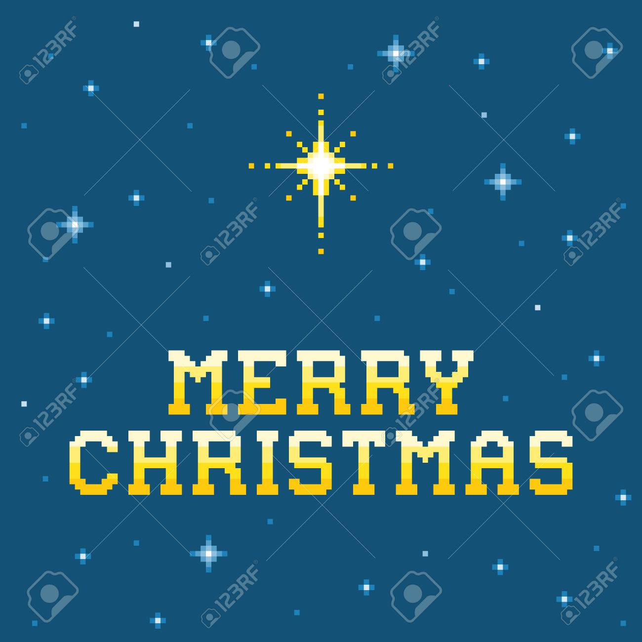 8-bit Pixel Merry Christmas Message with Star of Bethlehem Stock Vector - 34338147
