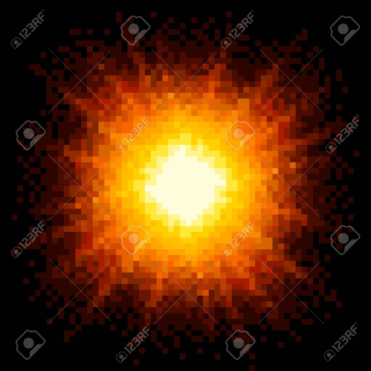 8-bit Pixel Art Firey Explosion. EPS8 Vector Stock Vector - 34338198
