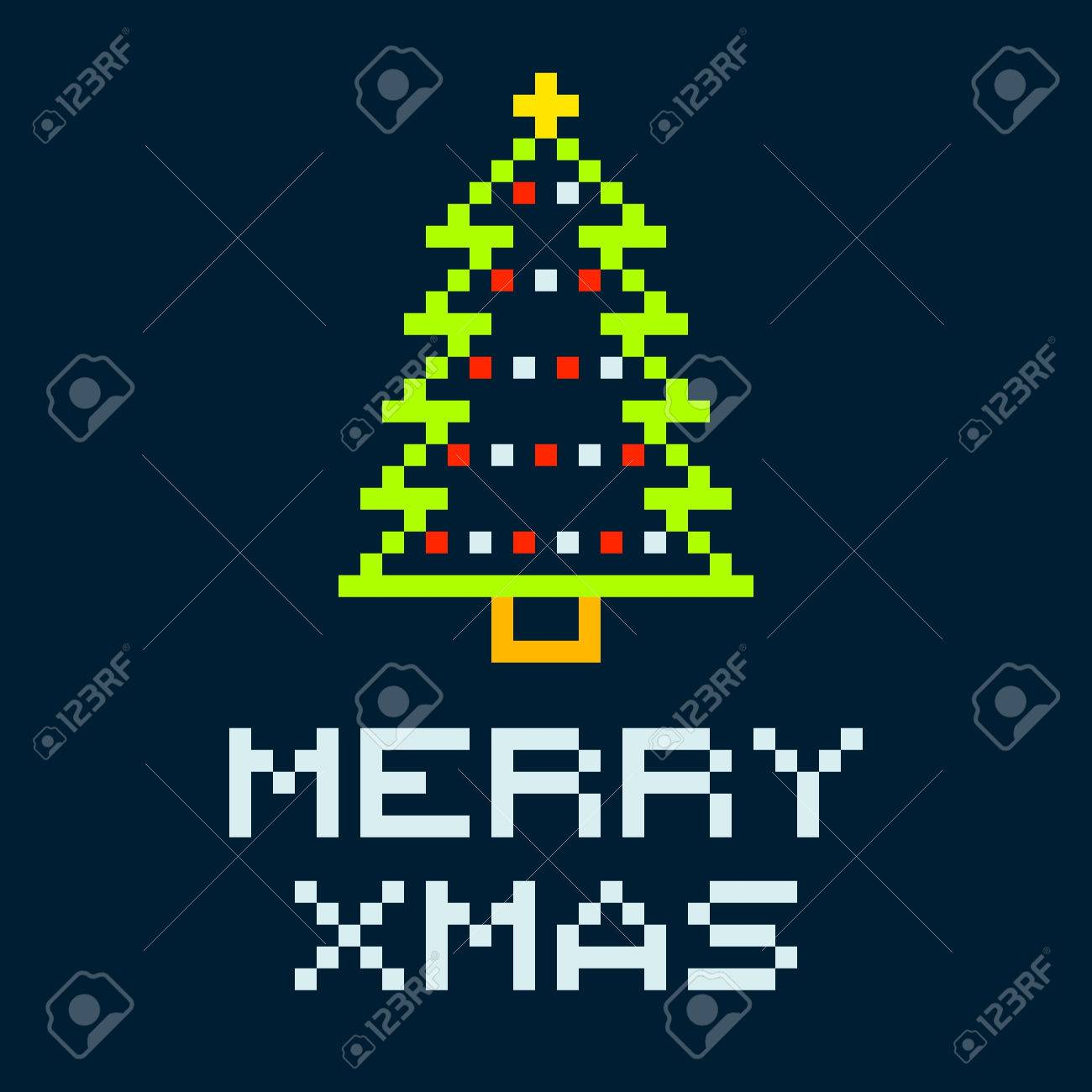 8-bit Pixel Merry Xmas Christmas Tree. EPS8 Vector with squares on separate layers Stock Vector - 34562335