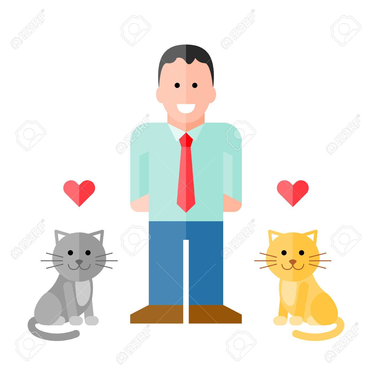 Vector Man in Shirt with Pet Cats. vector with assets on separate layers. No gradients or transparency used. Strokes are expanded into fills Stock Vector - 35402038