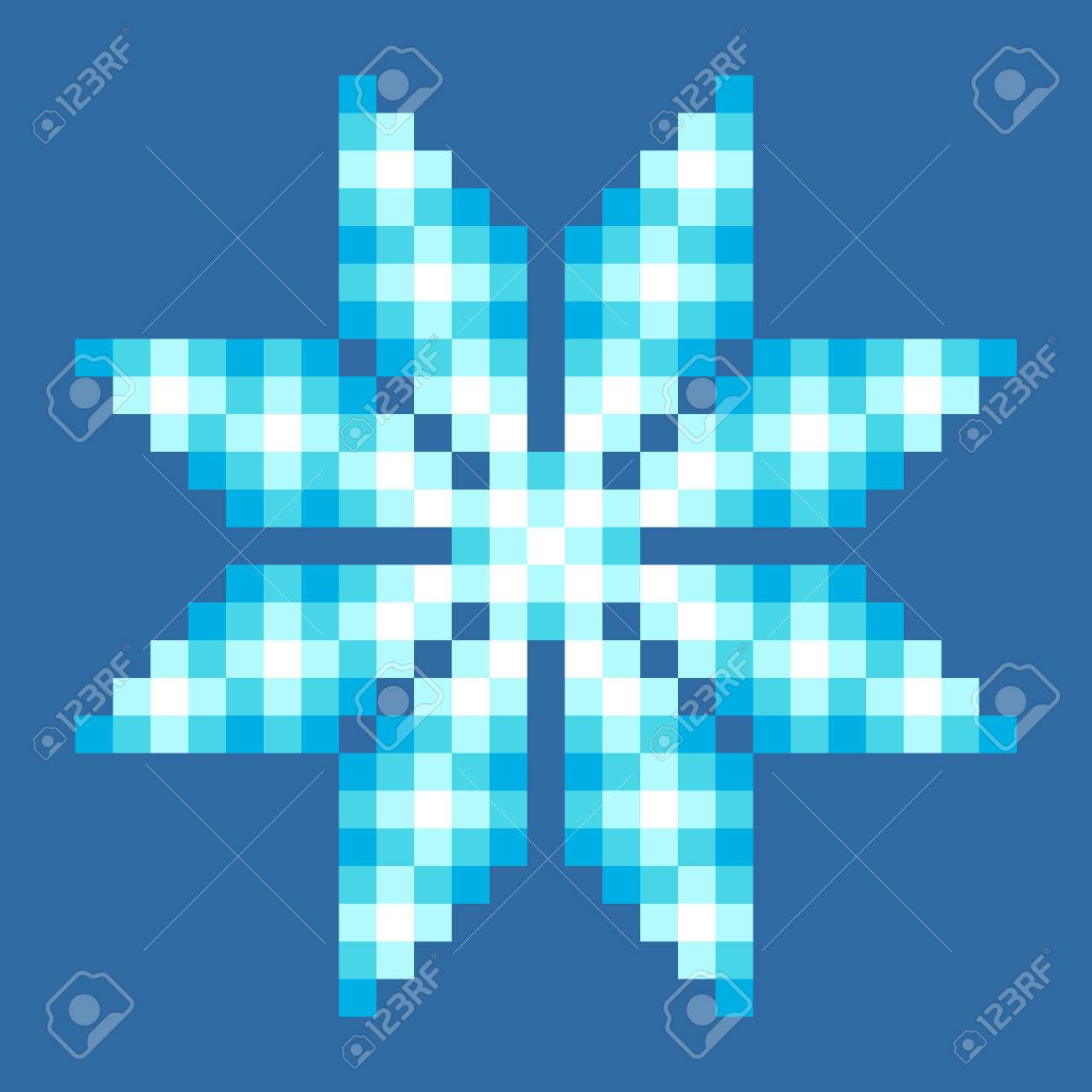 8-Bit Pixel Crystalline Snowflake. EPS8 Vector with each square separated for easy modifications Stock Vector - 36753680