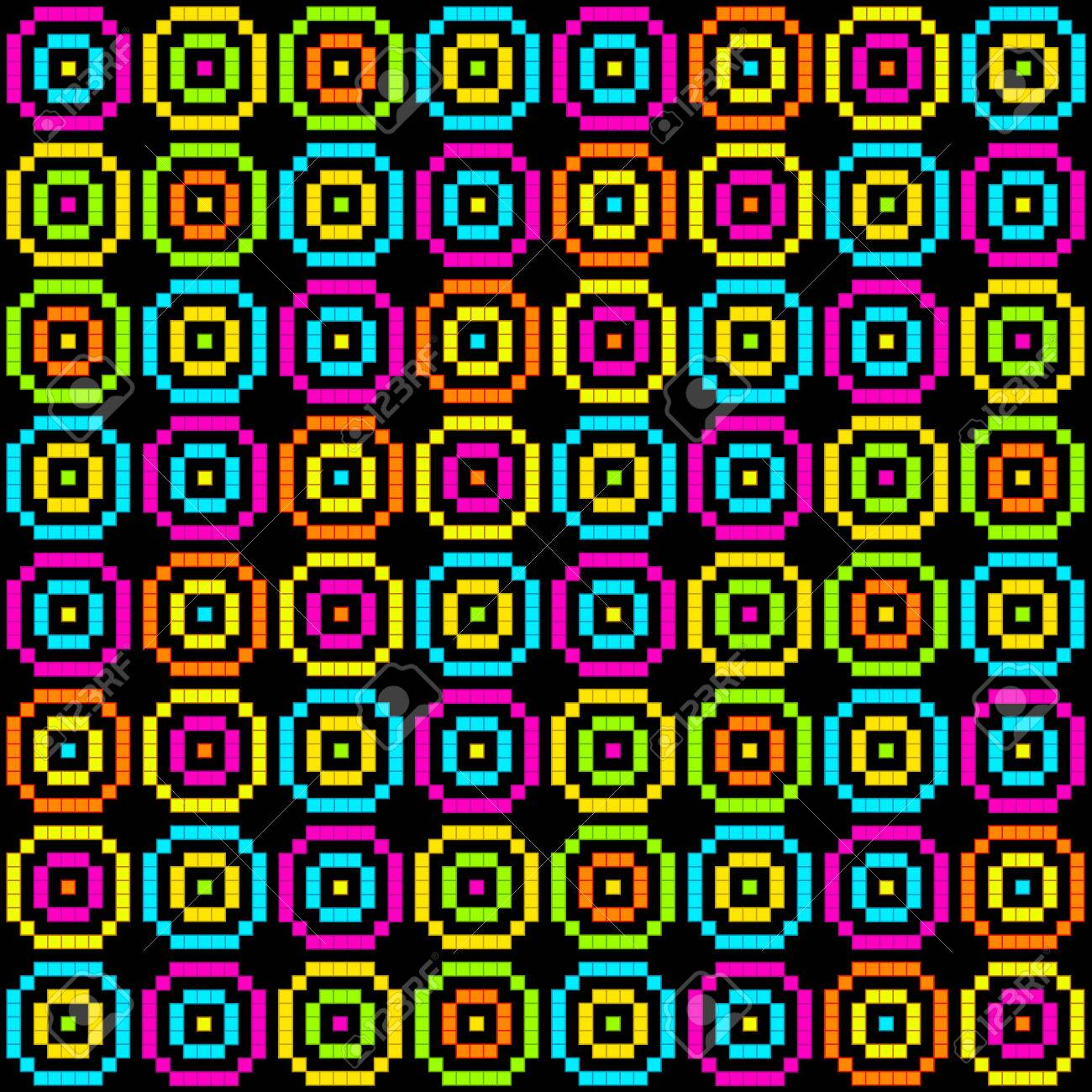 8-Bit Pixel Retro Circles Pattern. EPS8 Vector. Each coloured assets is on a separate layer, and left as separate vector squares for easy manipulation. No transparency - the glows are strokes with rounded corners Stock Vector - 39394253