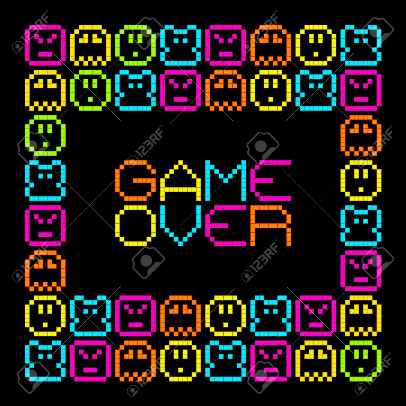 8-Bit Pixel Retro Arcade Game Over. EPS8 Vector. Each coloured assets is on a separate layer, and left as separate vector squares for easy manipulation. No transparency - the glows are strokes with rounded corners Stock Vector - 39394259