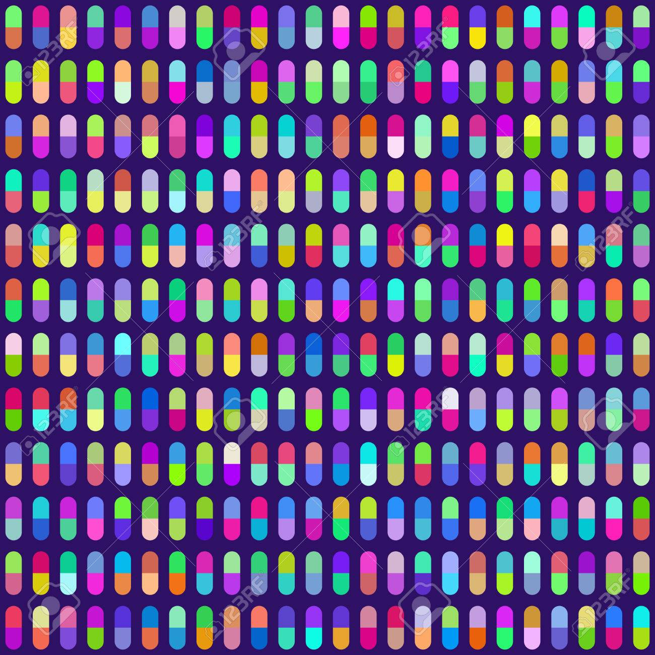 Multicolored Pill Capsules Seamless Background. Colors are randomly assigned. EPS8 Vector Stock Vector - 39396999