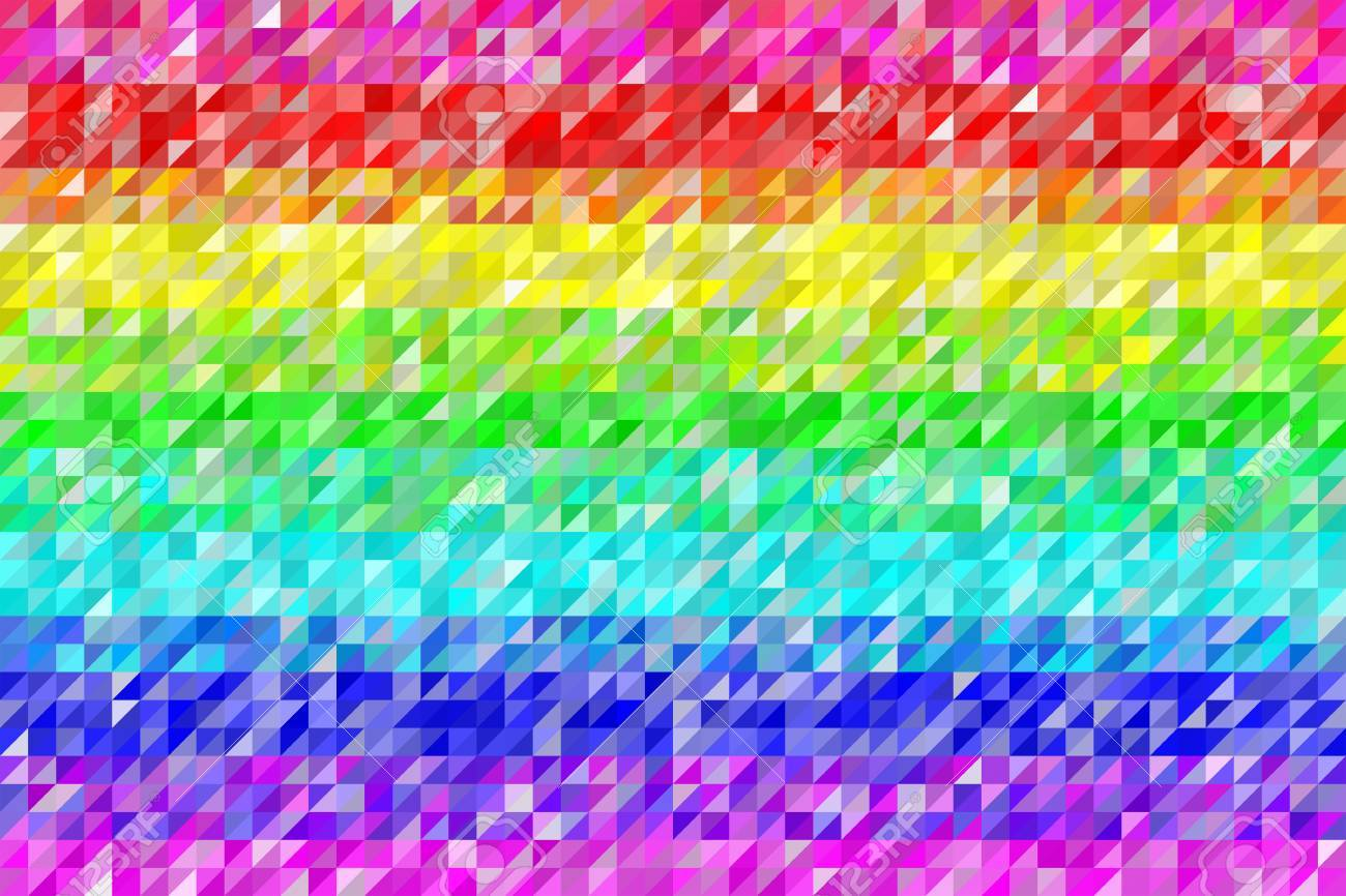 Rainbow Triangles Pattern Seamless Background. Colors are randomly assigned. EPS8 Vector Stock Vector - 39397002