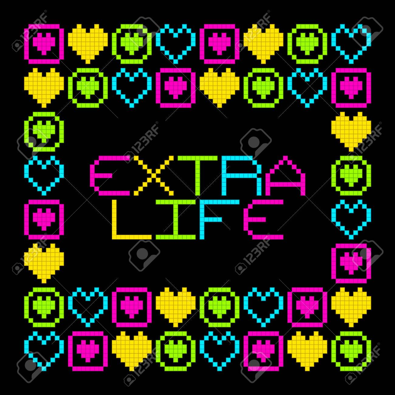 8-Bit Pixel Retro Extra Life Message. EPS8 Vector. Each coloured assets is on a separate layer, and left as separate vector squares for easy manipulation. No transparency - the glows are strokes with rounded corners Stock Vector - 50995602