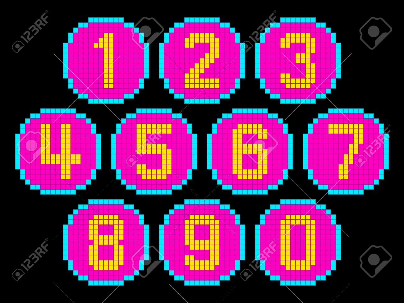 8-Bit Pixel Art Numbers in Circles. EPS8 Vector. Each number is on its own separate layer, and left as separate vector squares for easy manipulation. No transparency. Stock Vector - 50995612