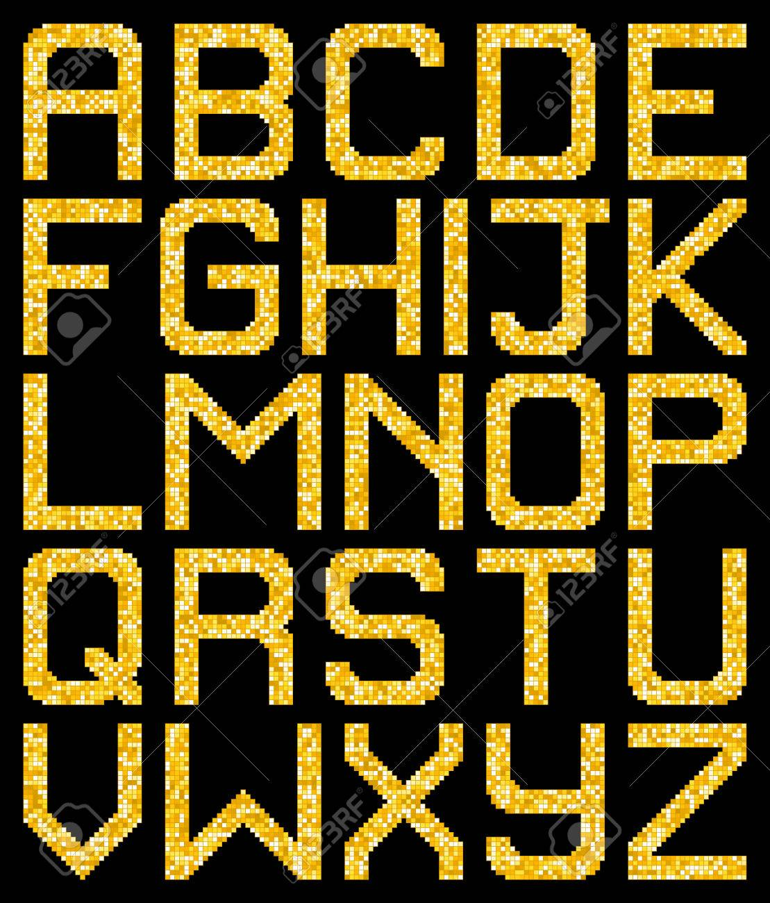 Pixel Gold Glitter A-Z Letters. EPS8 Vector without transparency or gradients. Each pixel left as a separate vector square for easy manipulation. Stock Vector - 50995615