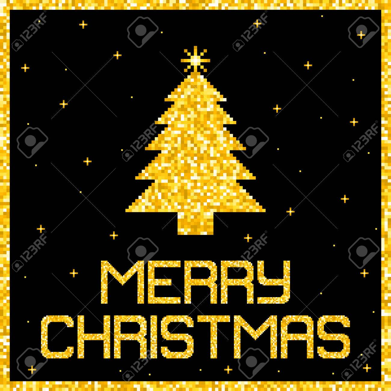 Pixel Gold Glitter Christmas Card. EPS8 Vector without transparency or gradients Stock Vector - 50995616