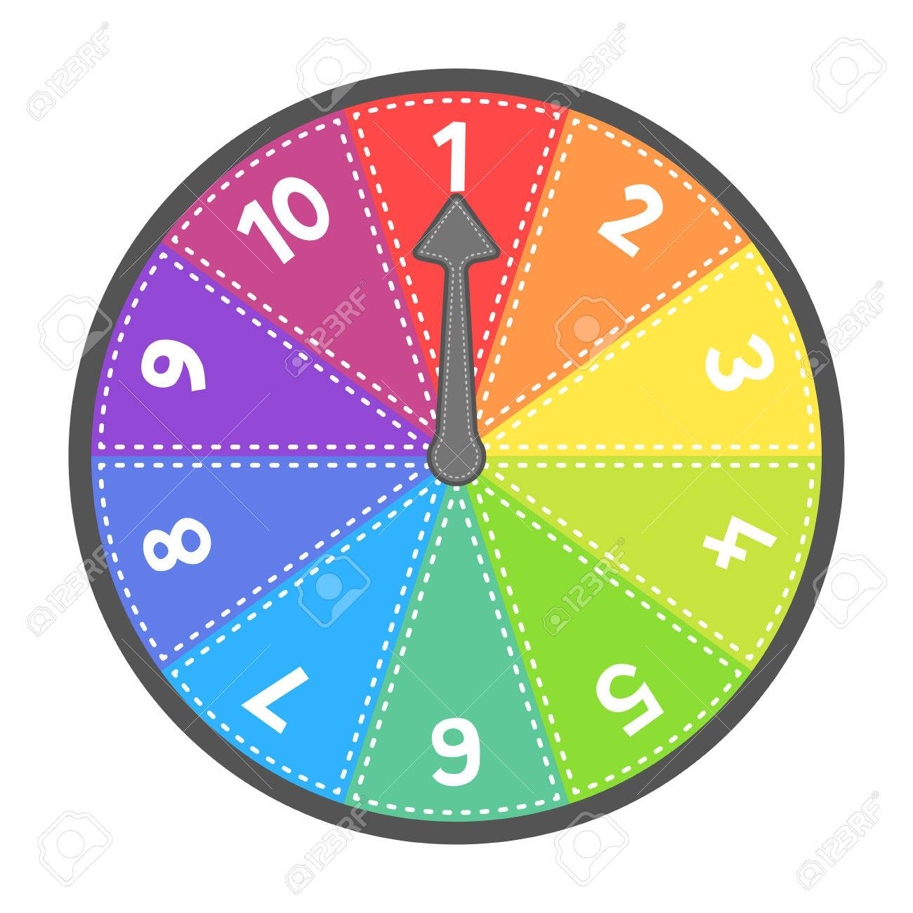 Vector number wheel showing numbers 1-10 in order. EPS8 Vector. Assets are on separate layers with dashed strokes Stock Vector - 54110171