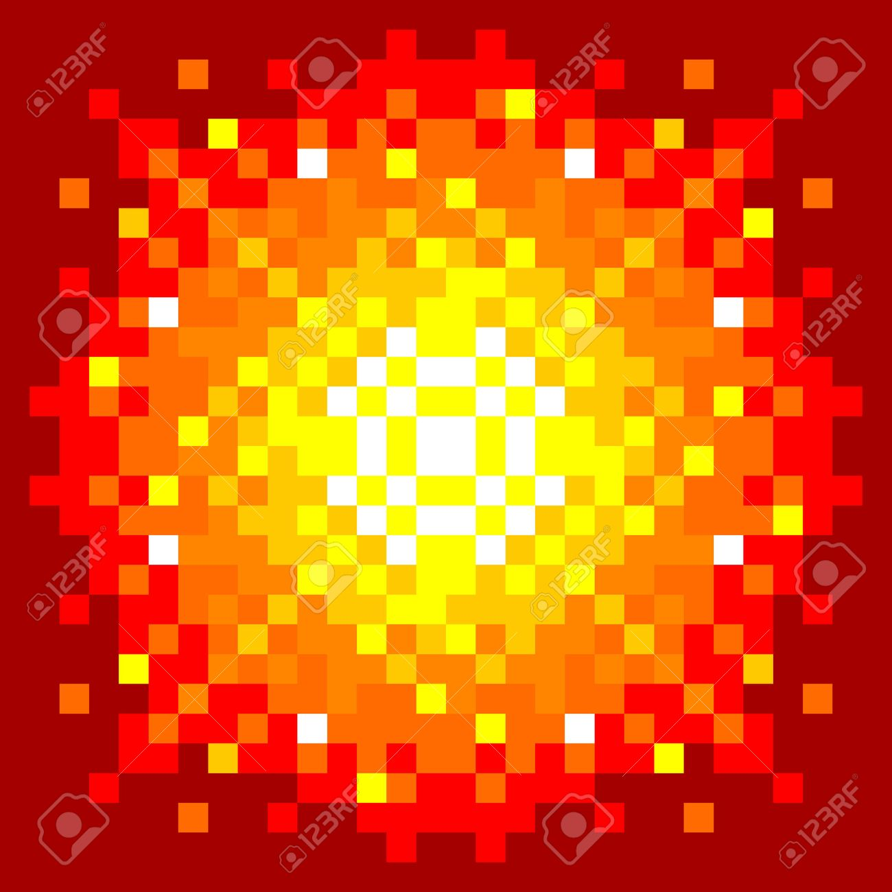 8-Bit Pixel-art Firey Explosion on a Red Background. EPS8 vector Stock Vector - 54110175