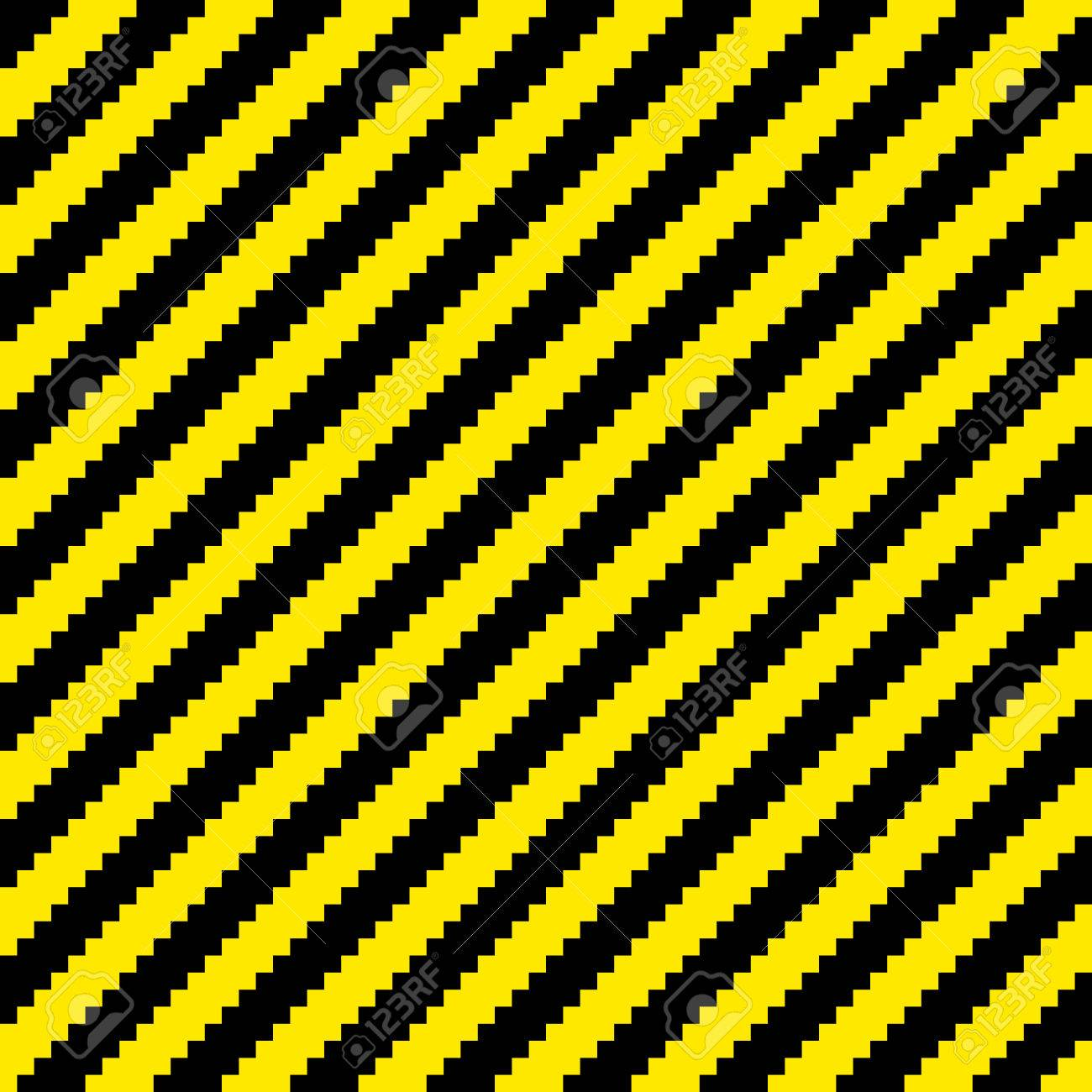 Black and yellow diagonal warning stripes done in a pixel-art style. Seamless background tile. Each