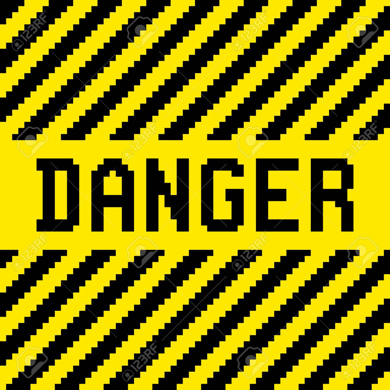 Danger sign with black and yellow diagonal warning stripes, in a pixel-art style. Layered EPS8 vector Stock Vector - 59105613