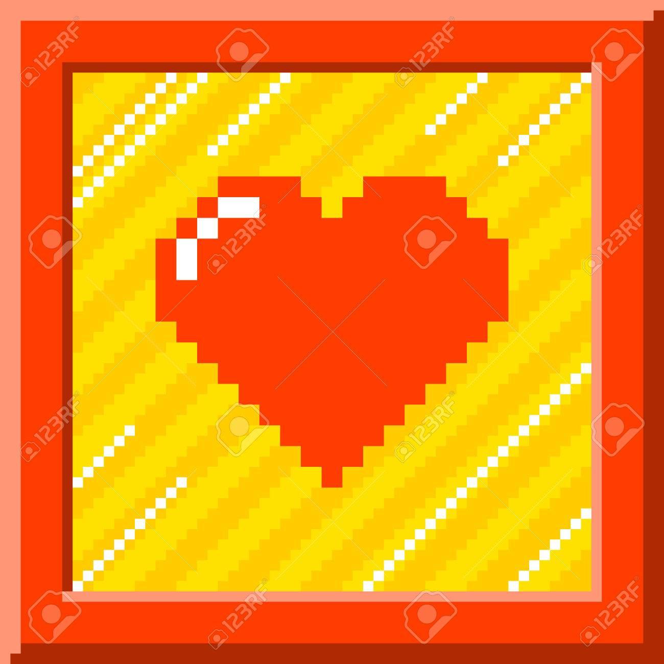 Coeur De Pixel Rouge Entouré Dune Bordure Rouge Sur Fond Rayé Le Cur Est Formé De Carrés Individuels Et Est Laissé Pour Faciliter Le Montage