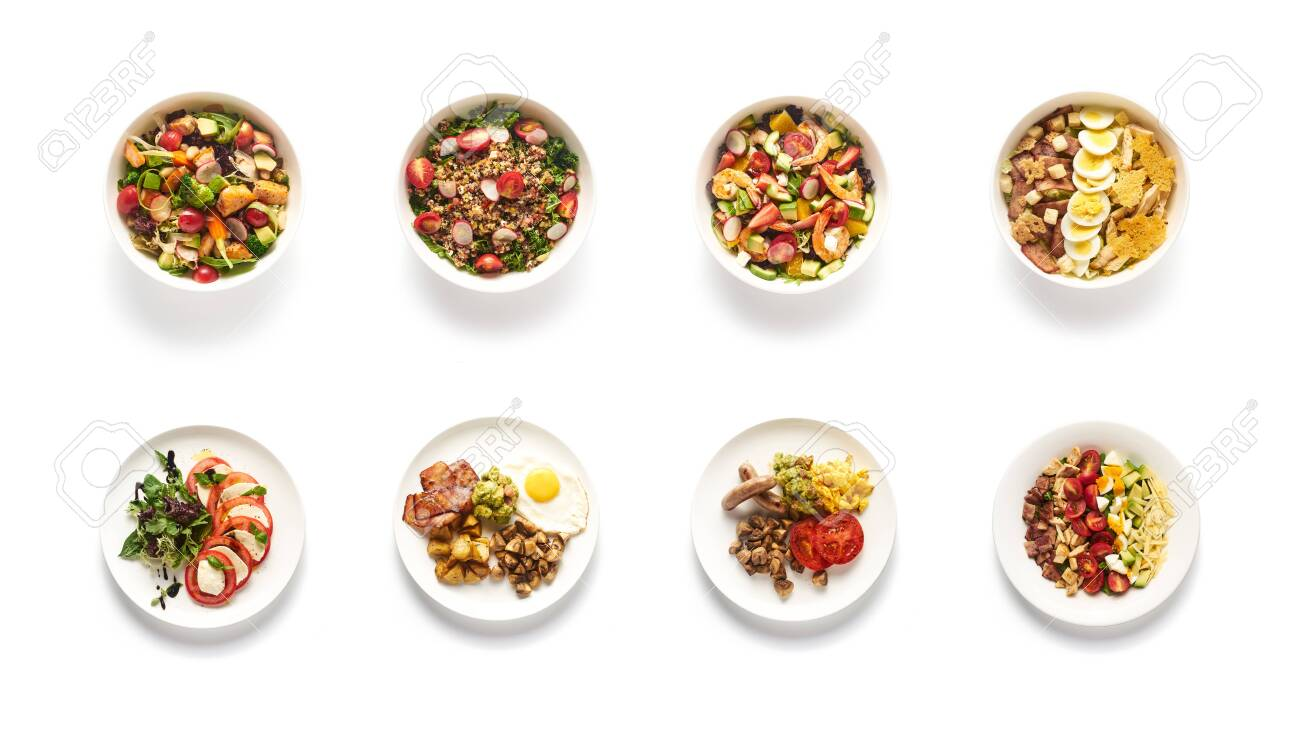 Top view of different salads on white background - 141019777
