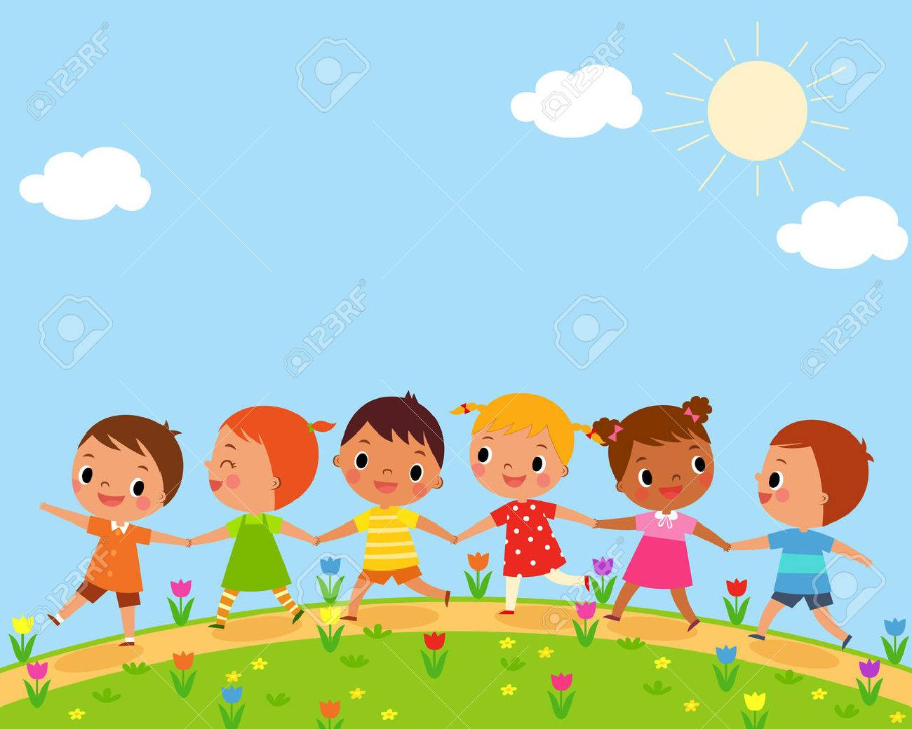 illustration of children walk on a beautiful spring day - 40688840
